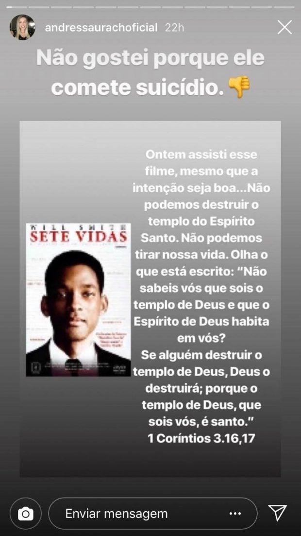 """Andressa Urach faz criticas ao filme """"Sete Vidas"""" (Imagem: Instagram)"""