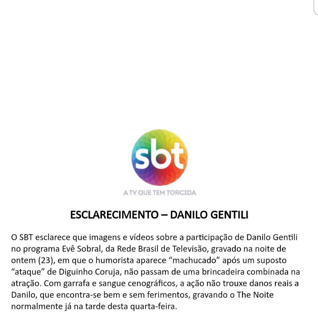 SBT se pronuncia oficialmente sobre agressões e briga de Danilo Gentili Foto: Reprodução