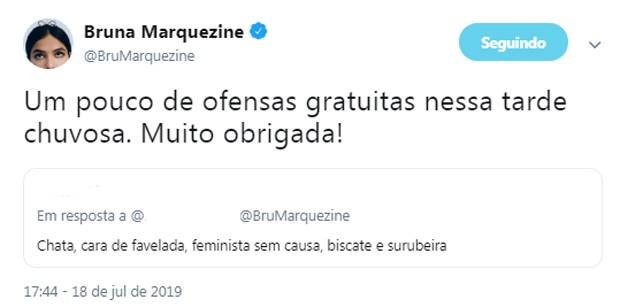 Bruna Marquezine rebate internauta (Foto: Reprodução/Instagram)