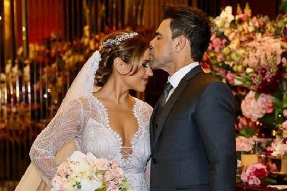 Zezé di Camargo e sua filha Camila Camargo durante casamento (Imagem: Instagram)