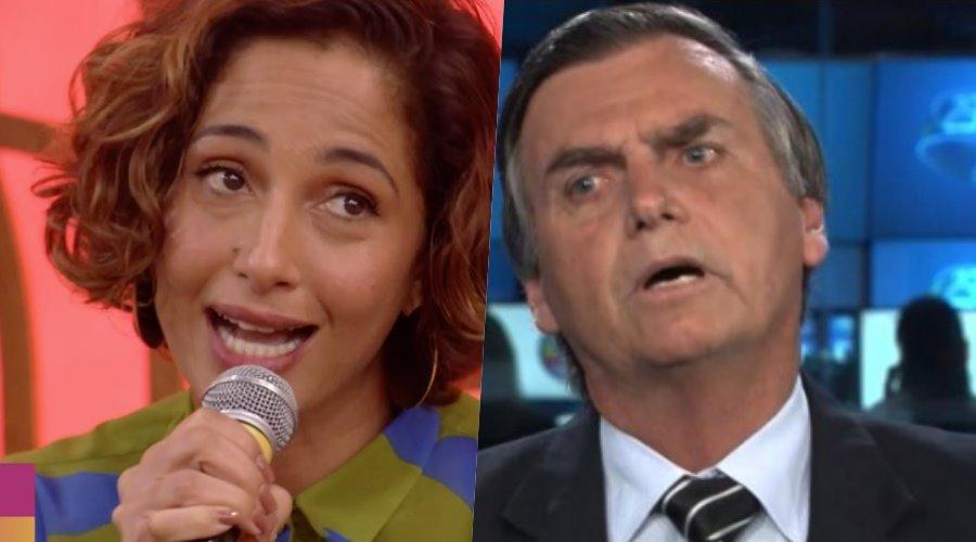 """Camila Pitanga criticou Bolsonaro no programa """"Encontro com Fátima Bernardes"""", da Globo (Reprodução: TV Globo)"""