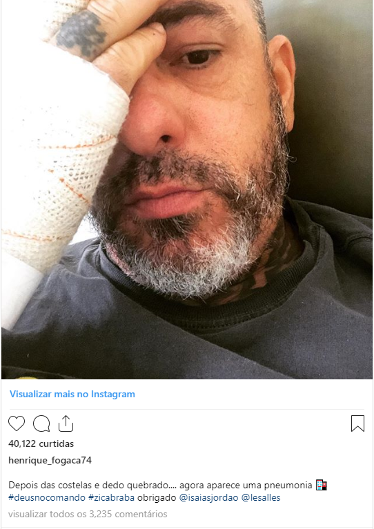 Henrique fogaça anunciou que estava com pneumonia e apagou postagem na sequência (Foto: Reprodução/Instagram)