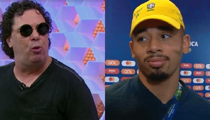 Walter Casagrande e Gabriel Jesus na Globo (Foto: Reprodução/Globo e SporTV)