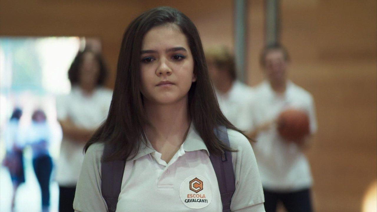 Cássia (Mel Maia) em cena de A Dona do Pedaço da Globo
