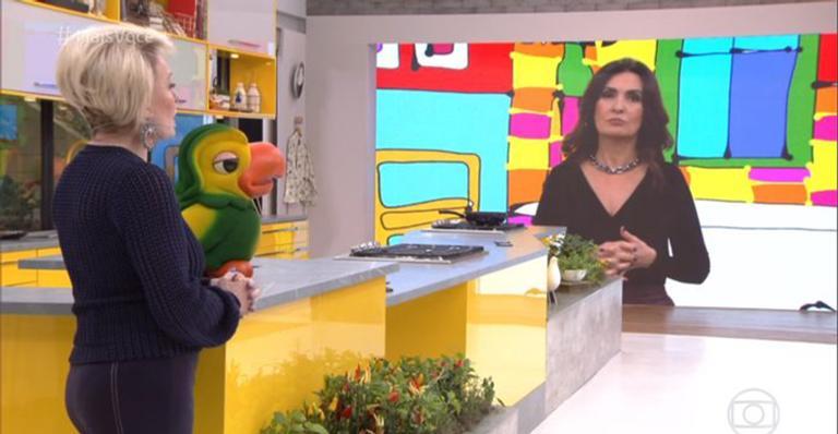 Fátima Bernardes durante interação com Ana Maria Braga e o Louro José (Reprodução: TV Globo)
