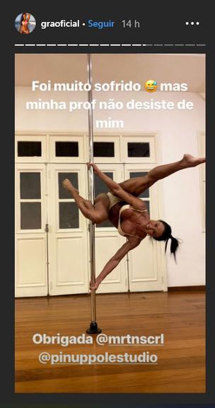 Gracyanne Barbosa mostrou o corpo enquanto praticava pole dance (Foto: Reprodução/ Instagram)