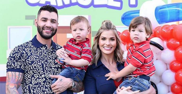 Gusttavo Lima e Andressa Suita promovem grande festa para os filhos Gabriel e Samuel (imagem: Instagram)