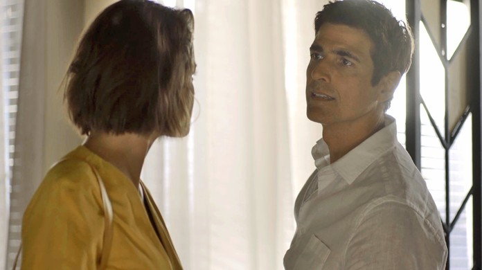 Agatha Moreira e Reynaldo Gianecchini discutem em A Dona do Pedaço da Globo