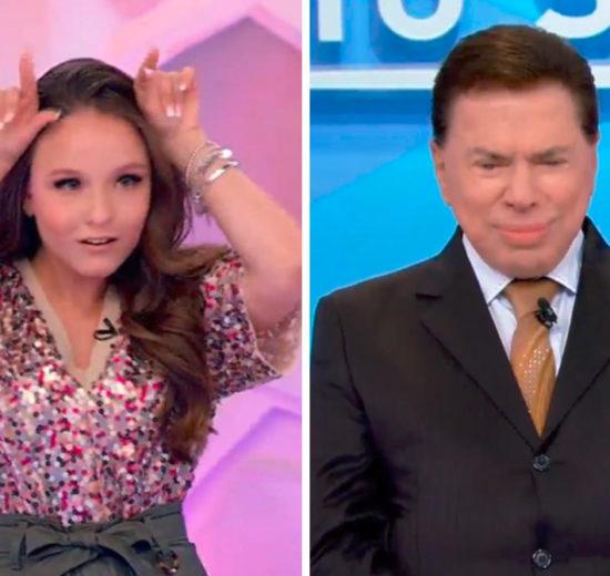 Larissa Manoela recebe praga de Silvio Santos (Foto: Reprodução)