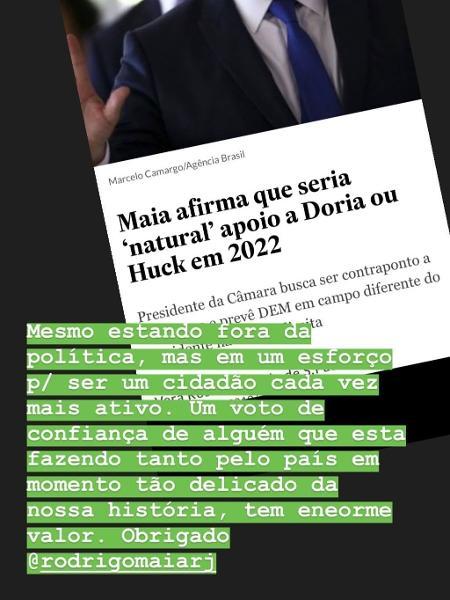 Luciano Huck agradeceu o apoio que recebeu para ser Presidente do Brasil (Foto: Reprodução/ Instagram)