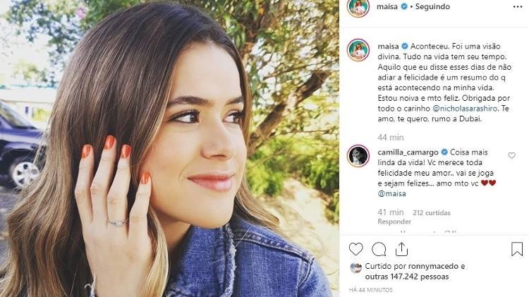 """Maisa, do SBT aos 17 anos revela estar noiva de Nicholas Arashiro e mostra aliança: """"Estou muito feliz"""" Foto: Reprodução"""