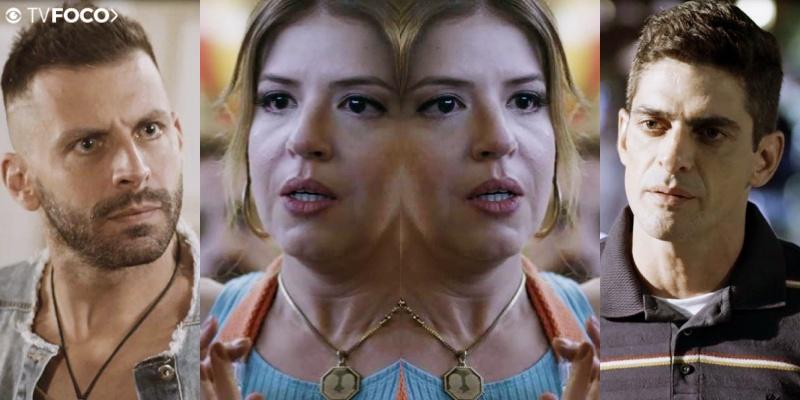 Carla em seu triângulo amoroso em Malhação Toda Forma de Amar na Globo (Foto: Montagem/TV Foco)