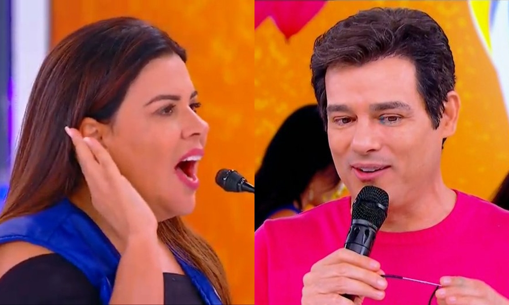 Mara Maravilha e Celso Portiolli se desentenderam no SBT (Foto: Reprodução/ Montagem)