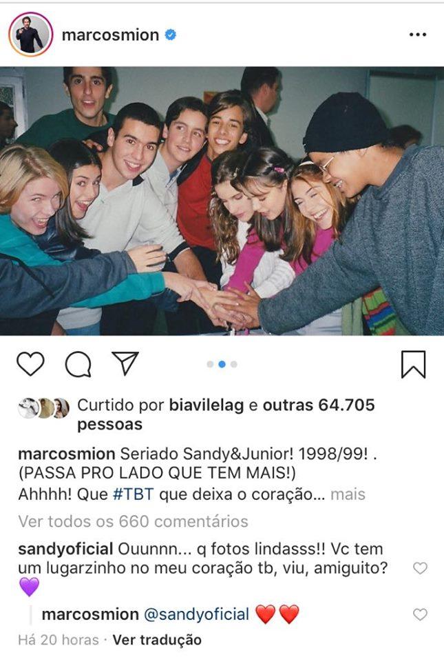 O apresentador Marcos Mion faz publicação com fotos raras da época que era do elenco de Sandy e Junior (Foto: Instagram)
