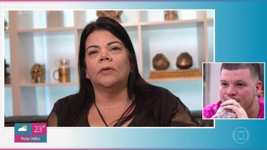 Maristela Falide, mãe de Ferrugem, grava depoimento para o filho no Mais Você Imagem: Reprodução/TV Globo