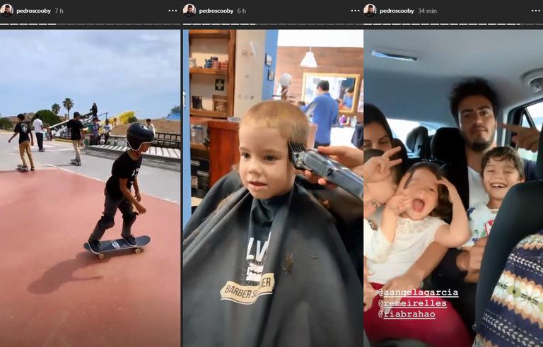 Pedro Scooby curte dia ao lado de filhos e canta música de Anitta com herdeiros (Foto: Reprodução)