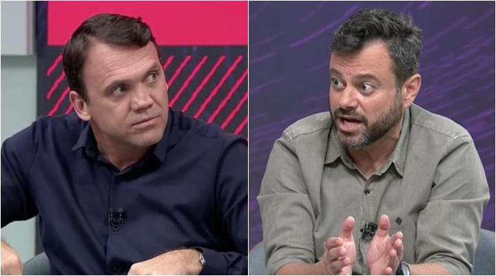 Petkovic e Eric Faria, repórter da Globo, tiveram discussão em programa do SporTV. (Foto: Montagem/Reprodução)