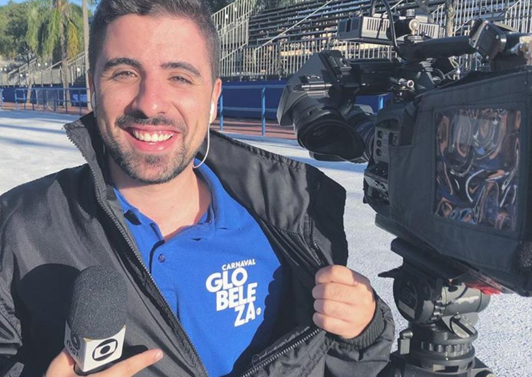 Mateus Marques, repórter da RBS TV, foi derrubado ao vivo (Foto: Reprodução)