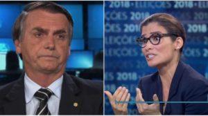 Bolsonaro e Renata Vasconcellos durante as sabatinas nas eleições de 2018 (Foto: Reprodução)