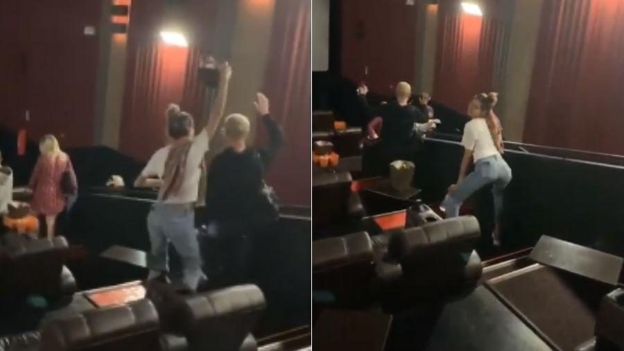 A apresentadora da Record, Xuxa Meneghel, e sua filha, Sasha Meneghel, fizeram a maior festa em uma sessão de cinema após o final do filme Rei Leão (Foto: Divulgação)