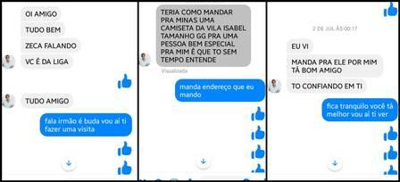 Conversas entre o golpista que usou o nome de Zeca Pagodinho e vítimas do crime Foto: Reprodução
