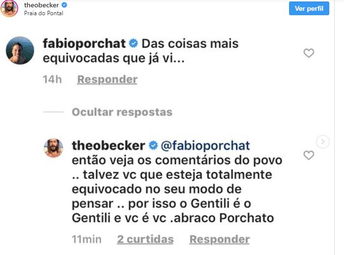 Treta entre Fábio Porchat e Theo Becker. (Foto: Reprodução)