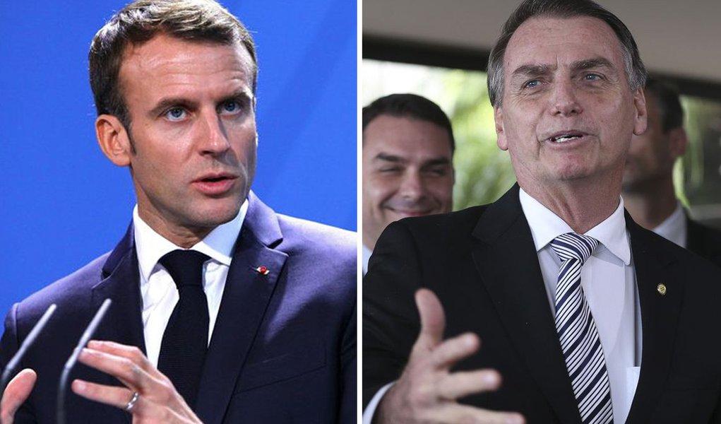 Aumenta a tensão entre Jair Bolsonaro e Emmanuel Macron (Foto: Montagem)