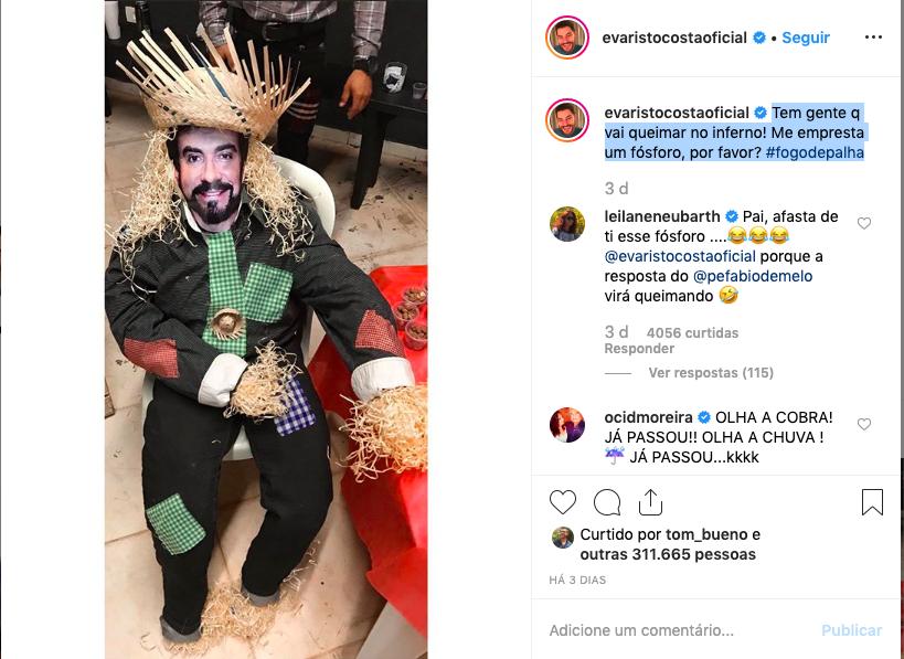 Foto postada por Evaristo em seu Instagram. Foto: Reprodução/Instagram
