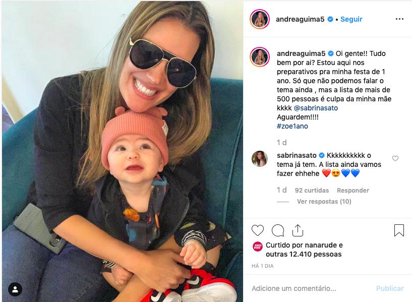 Andrea e Zoe filha <br /> Foto: Reprodução/Instagram