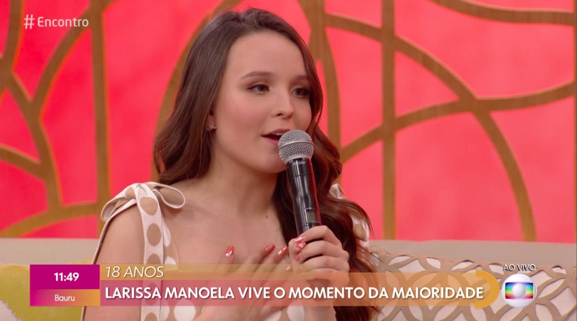 Larissa Manoela participou do Encontro com Fátima Bernardes. Foto: reprodução/Globo