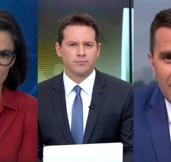 Dony de Nuccio, Renata Vasconcellos e Rodrigo Bocardi (Foto: Divulgação/TV Globo/Montagem TV Foco)