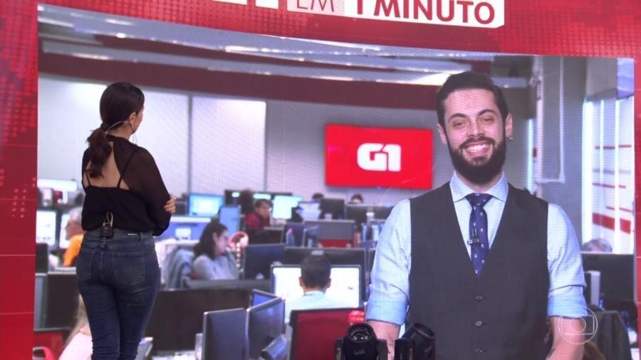 """Fátima Bernardes e Cauê Fabiano interagiram durante o """"Encontro"""" (Foto: Reprodução/TV Globo)"""