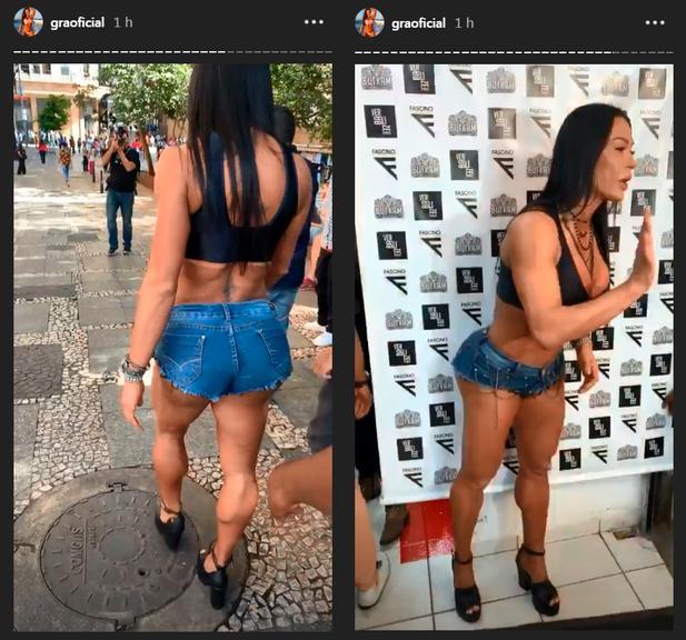 Gracyanne Barbosa, esposa de Belo roubou as atenções no centro de SP, ao desfilar de micro-shorts (imagem: Instagram)