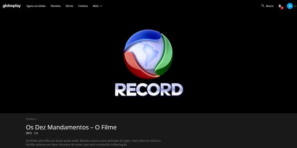 Produção da Record foi parar no serviço de streaming da Globo (Foto: Reprodução/Globoplay)