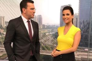 Rodrigo Bocardi e Sabina Simonato, são os apresentadores do Bom Dia São Paulo, da Globo (Foto: Reprodução)