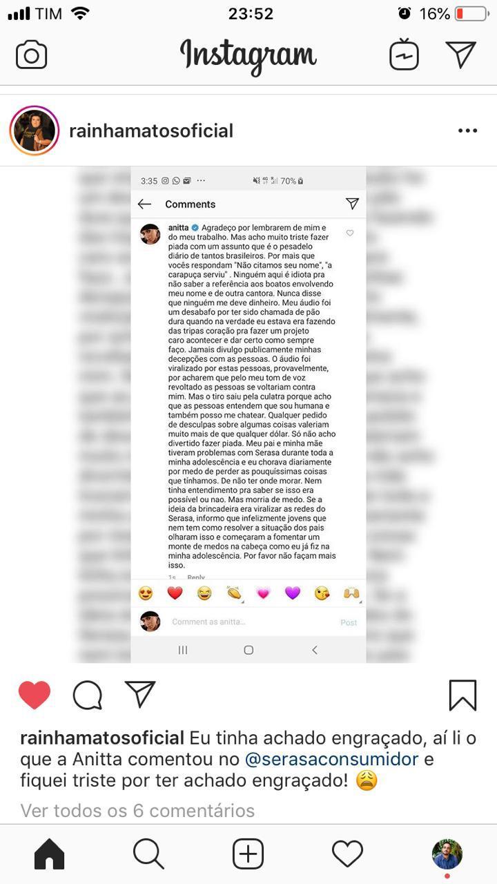 Anitta recebeu uma provocação de uma empresa brasileira, mas respondeu à altura.