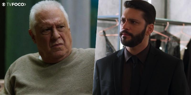 Alberto (Antonio Fagundes) vai colocar Diogo (Armando Babaioff) contra a parede em Bom Sucesso da Globo (Foto: Reprodução/Globo/Montagem/TV Foco)