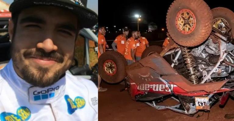 Caio Castro e seu carro, durante a competição, Caio Castro se manifestou pelo Instagram após sofres um grave acidente de carro durante a competição, Rally dos Sertões, no último final de semana.(Imagem/ Instagram)