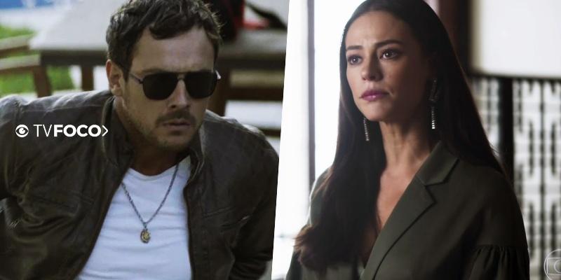 Chiclete (Sergio Guizé) toma coragem para matar Vivi (Paolla Oliveira) em A Dona do Pedaço da Globo (Foto: Montagem/TV Foco)