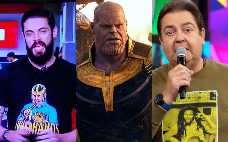 De um lado o repórter da Globo, Cauê, do outro o supervilão, Thanos. Já o último é o famoso apresentador, Faustão. Quem você escolhe? (Foto: Montagem)