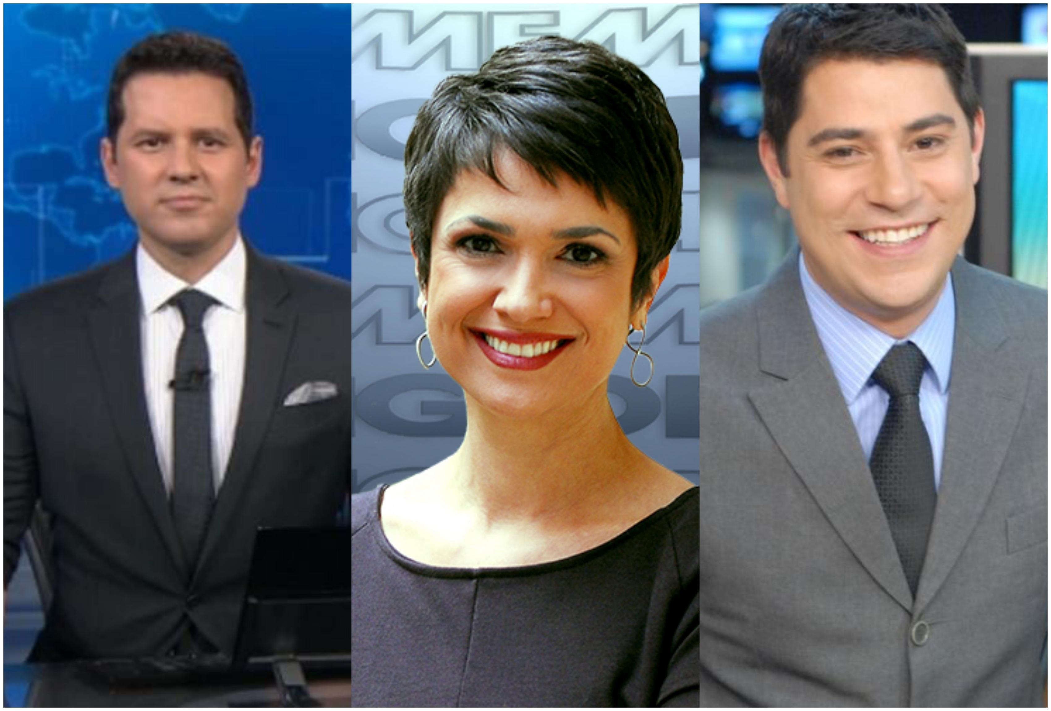 Dony De Nuccio, Sandra Annenberg e Evaristo Costas. Foto: Reprodução/Montagem TV Foco GLOBO