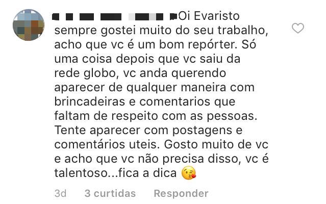 Comentário da seguidora. Foto: Reprodução/Instagram Evaristo Costa