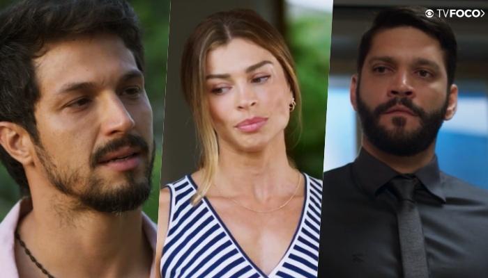 Diogo entre Marcos e Paloma para Alberto na novela Bom Sucesso da Globo