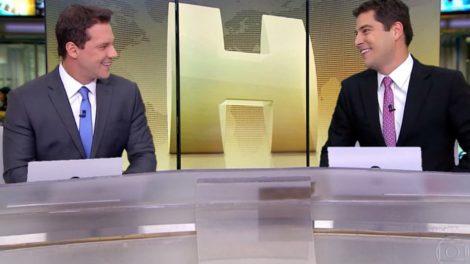 Doni Del Nuccio e Evaristo Costa, no Jornal Hoje da Globo (Imagem: Globo)