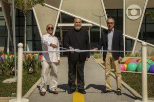 João Roberto Marinho , Roberto Irineu Marinho e José Roberto Marinho na inauguração dos novos estúdios da Globo (Foto: Globo/Estevam Avellar)