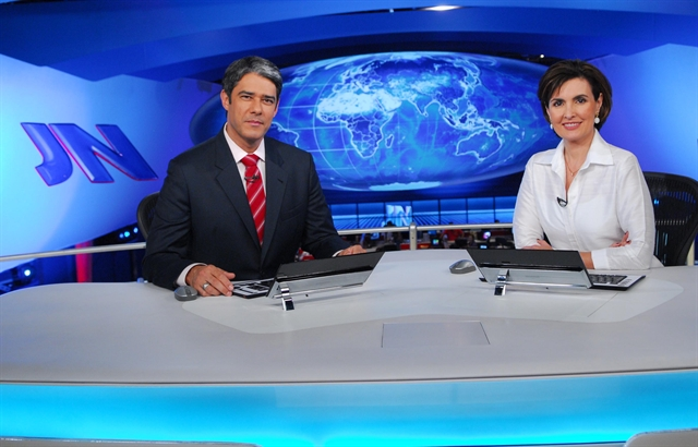 William Bonner e Fátima Bernardes no Jornal Nacional (Foto: Globo/João Miguel Júnior)