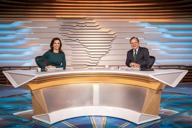 Ana Paula Araújo e Chico Pinheiro no Bom Dia Brasil (Foto: Globo/João Cotta)