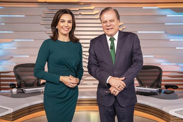 Ana Paula Araújo e Chico Pinheiro no novo cenário do Bom Dia Brasil (Foto: Globo/João Cotta)