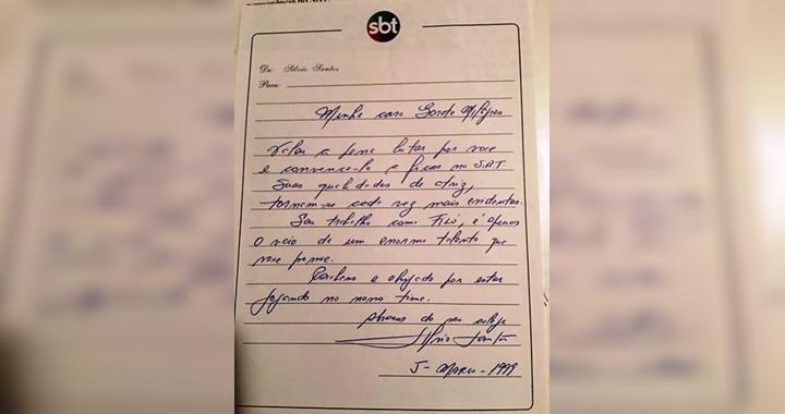 Bilhete escrito por Silvio Santos para Gorete Milagres. (Foto: Montagem/Reprodução)