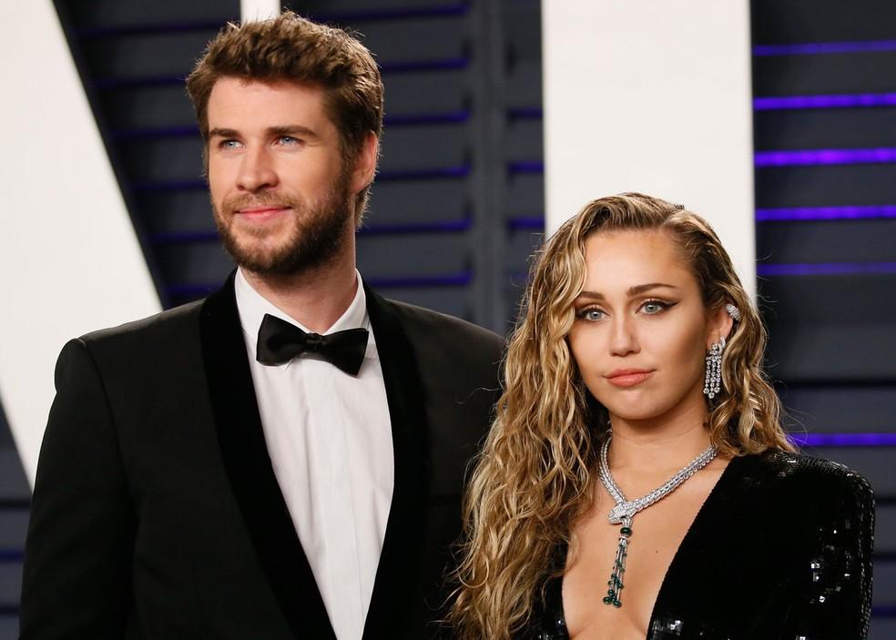 Ator Liam Hemsworth e sua ex-companheira, a cantora Miley Cyrus (Foto: Reprodução)